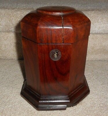 "Ant. 8"" Octagonal, Heavy Solid Wood Tobacco Humidor/tea Caddy, Porcelain Lined"
