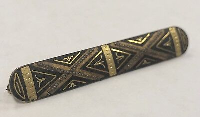 Antique Byzantine Indian Tribal Enamel Painted Long Black and Gold Bar Pin