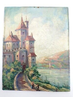 Small OLD Oil Painting on Board Signed M. Bellvy -Impressionist Castle by a Lake