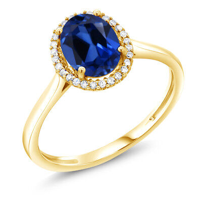 1.60 Ct Oval Blue Created Sapphire 10K Yellow Gold Diamond Ring