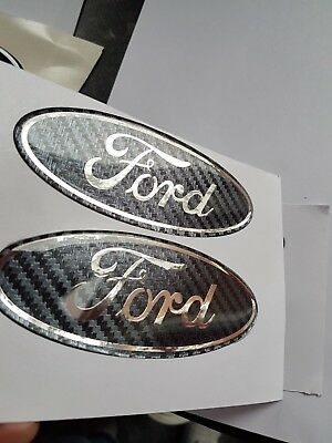Ford Fiesta Mk7 2009-2011 Gel Badge Overlay Full Set ,  Carbon / Chrome