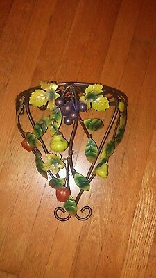 VINTAGE TOLE METAL WALL SHELF~Demi Lune Form Bracket~Leaves & Fruit~Garden Chic
