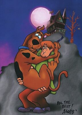 Scooby-Doo & Shaggy Signed Autograph 11x8.5 Fun Tribute Print With COA PJ
