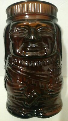 Vintage Amber Brown Glass Indian Chief Canister Jar Missing Lid El Producto