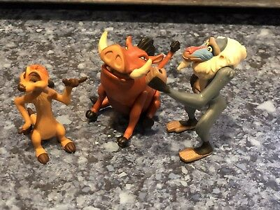 Genuine Disney Lion King Figures X 3 From 90'S Tidy Rare See Pics