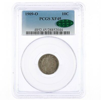 1909-O Barber 10C PCGS CAC XF45 Mew Orleans Mint Silver Dime Coin Affordable CAC