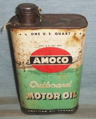 Vintage Amoco Outboard Motor Oil Metal Quart Can