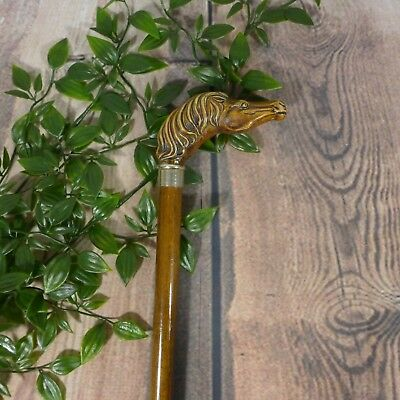"Vintage Unique Wooden Horse Head Carved Walking Stick Cane 35"" (GREAT)"