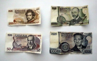 Circulated Austrian Schilling Bank Notes, Set of Four