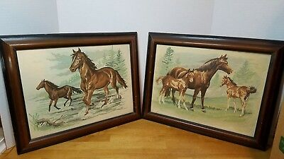 Vintage paint by number 2 framed horse paintings