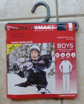 New CLIMATE SMART by CUDDL DUDS Comfortech Poly Boys 2Pc Set Gray Camo - Size XS