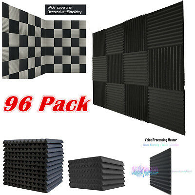 "96 Pack Acoustic Foam Soundproof Tiles Studio Wedge Panels Charcoal 1""x 12""x 12"""