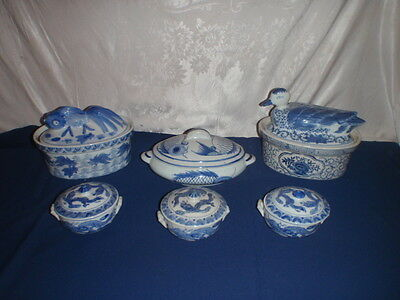 Blue White Stoneware Japanese Asian Fish Duck Dragon Casseroles 6 Pieces