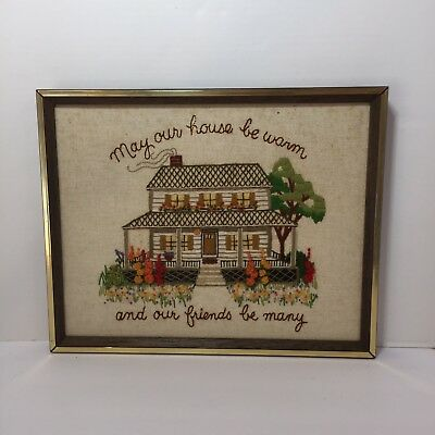"May Our House by Warm Finished and Framed Crewel Embroidery 15"" x 12"" Sunset"