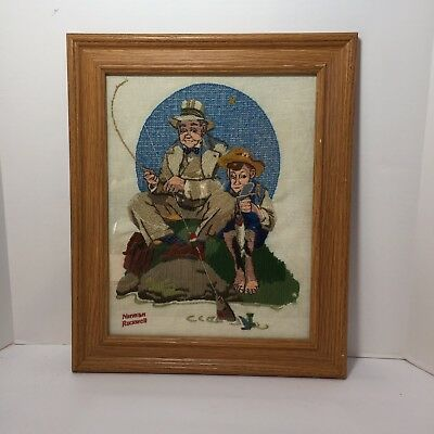 Catching the Big One Finished and Framed Crewel Embroidery Norman Rockwell