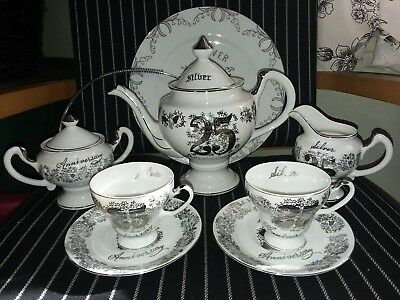 Vintage Norcrest Fine China, 25th Anniversary Serving Set, W/plate handle