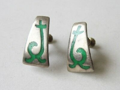 Vintage Hand-Crafted Mexican 925 Silver Earrings With Inlaid Green Stone