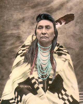"CHIEF JOSEPH NATIVE AMERICAN INDIAN NEZ PERCE 8x10"" HAND COLOR TINTED PHOTOGRAPH"