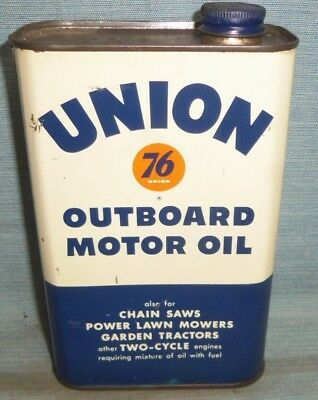 Vintage Union 76 Outboard Motor Oil Metal Quart Can