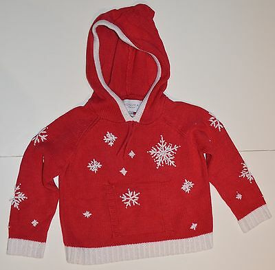 Sonoma Girls Size 5 Red Hooded Sweater With White Sparkly Snowflakes