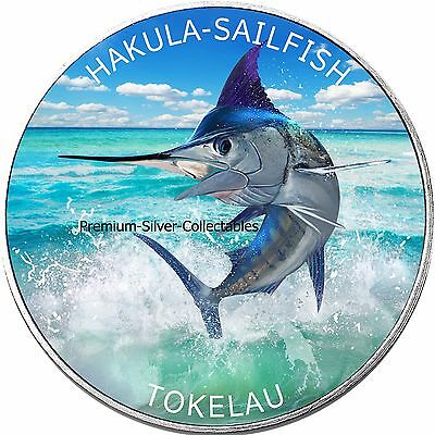2016 Tokelau Colorized Sailfish 1 Ounce Pure Silver - Collect the Series!