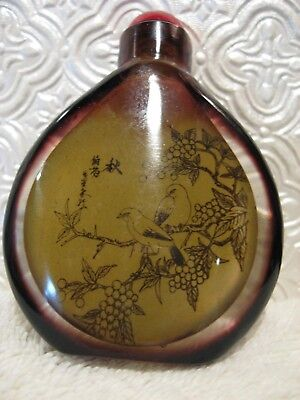 Vintage Glass Snuff Bottle- Intricate Design with Birds