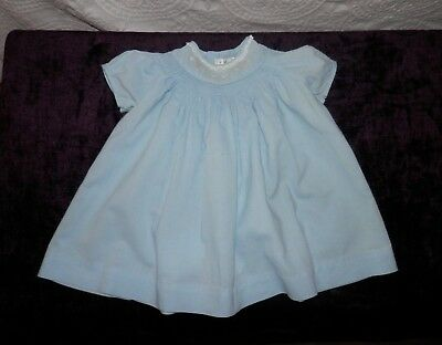 Vintage Baby Girl Smock Honeysuckle For Sears Robuck & Co.  Blue Dress