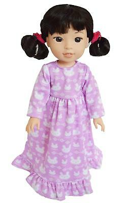 Purple Bunny Nightgown Fits 14 Inch American Girl Wellie Wishers Doll Clothes
