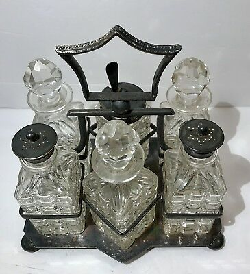 Antique Silver Plated Cruet Set - 6 Pressed Cut Glass Bottles and Footed Stand