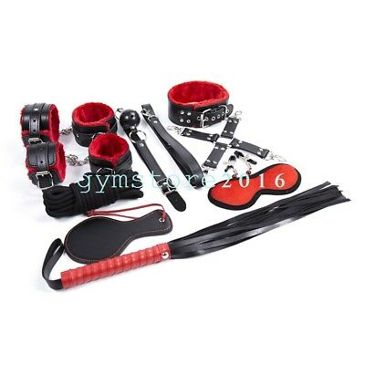 Bed Bondage Set Collar Whip Handankle Cuffs Kinky Restraint Gift Foreplay Funny
