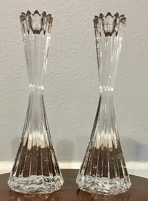 Classic Vintage Lead Crystal Candle Holder Set Wheat Bundle Pattern Crimped Top
