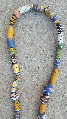 "40 Old Venetian Glass Beads Mixed - African Trade - Collectible  ~ 28""Long"
