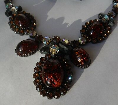 Very Old Weiss Rhinestone Necklace with Matching Clip-On Earrings