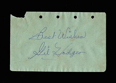 """Gil Hodges (1924-1972) Signed Autograph Album Pg, """"Best Wishes"""" Brooklyn Dodgers"""