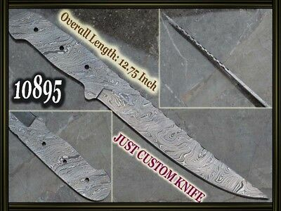 "12.75""Custom made Rare Damascus hunting blank blade knife making suppliers 10895"