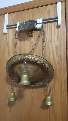 Vintage Art Deco Brass Plated Three Chain Hanging Ceiling Light Fixture