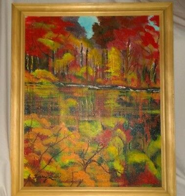 "Original framed 16X20 acrylic painting signed by Terry Lash ""Fall reflection"""