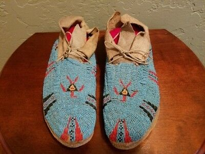 CheyenneBeaded Men's Moccasins Circa 1900 with Parfleche Soles
