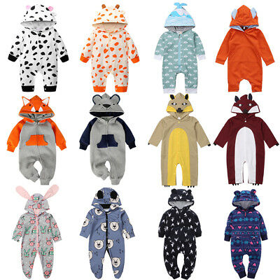 Winter Toddler Baby Boys Girls Xmas Cozy Hooded One-piece Romper Animals Clothes