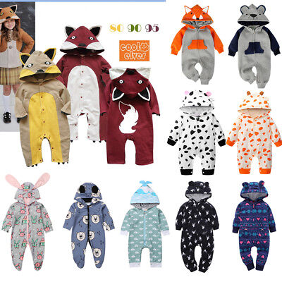 Winter Toddler Baby Boy Girl Zip Hooded One-piece Romper Animals Outfit Clothes