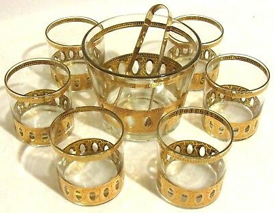 Vintage Bar Glass Entertainment (8) Piece Set Ice Bucket Tongs Tumbler Glasses