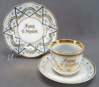 Mid 19th Century German Hand Painted Blue Floral & Gold Star Breakfast Trio
