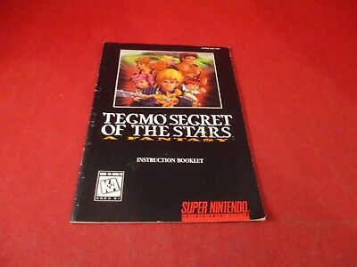 Tecmo Secret of the Stars Super Nintendo SNES Instruction Manual Booklet ONLY