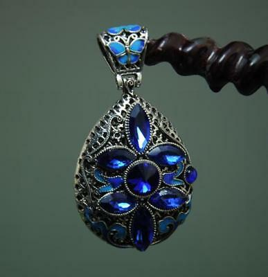 China Old  Inlay Sapphire Cloisonne Tibetan Silver Pendant A02
