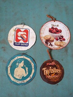Lot of 4 Vintage Old Rare Multi Ad. Litho Round Tin Sign Board Collectible #546