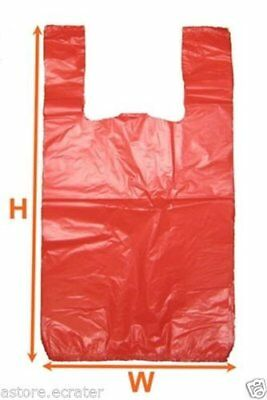 Orange Red Large Plastic Shopping T-shirt Grocery Store Bags 11.5 x 6.5 x 21 1/6