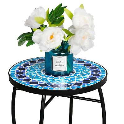 Mosaic Accent Table Plant Stand Easy Move Rust Resistant Curvaceous Iron Legs