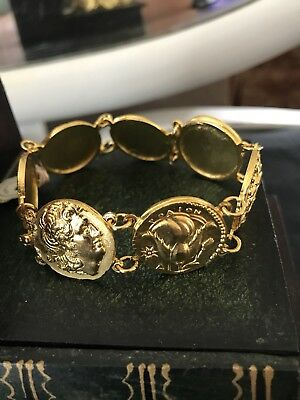 1960's Greek Handmade Ancient Coin Bracelet Replica Of Museum Jewels