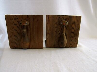 Vtg Mid Century Black Dragon Japanese Cedar Siamese Cats Mouse OMC Bookends