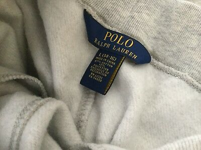 Boys Polo Ralph Lauren Fleece Elastic Cuff Athletic Pants Juggers Sweats Gray L